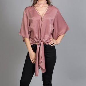 [LIKE NEW] Kimono Sleeve Satin Top in Dusty Rose